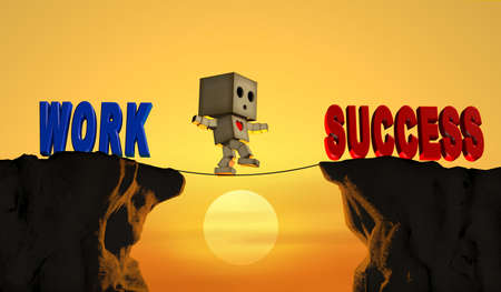 The character is climbing a rope on a high place. To cross to a better future and life.3D illustration. Фото со стока