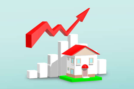 The red arrow is on a white stick that resembles a building. Shows economic and financial statistics.3D illustration. Фото со стока