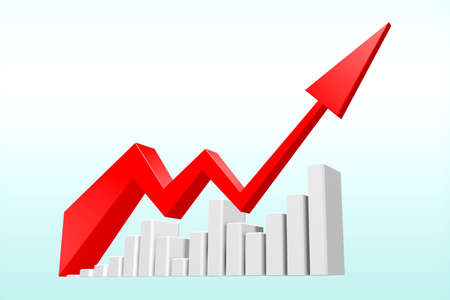 The red arrow is on a white stick that resembles a building. Shows economic and financial statistics.3D illustration.