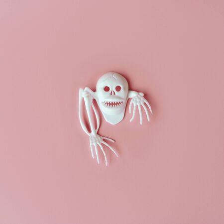Creative Halloween Day composition. Holiday celebration skull. Pink paper background. Template greeting card. Social media design. White skeleton. Flat lay composition 스톡 콘텐츠