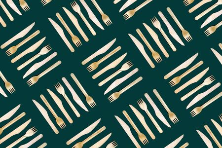 Set of disposable wooden knives and forks on a dark green emerald background. The concept of plastic free zero waste, environmental protection. Minimal simple creative layout in trendy color seamless