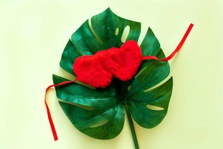 Big Leaf monstera heart shaped sleeping bandage for eyes. Valentines day concept