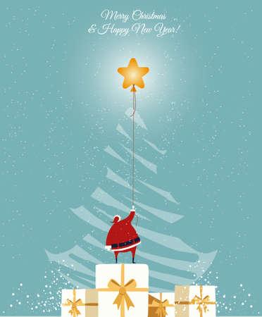Santa catch the star on th Christmas tree