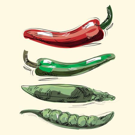 drown: peas peppers, hand drown Illustration