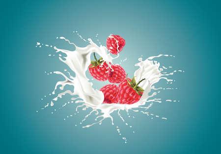Strawberreis falling into the milky splash Illustration