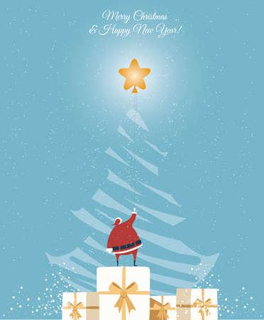 Santa catch the star on the Christmas tree. Christmas greeting Card.