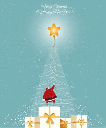 drow: Santa catch the star on the hand drow Christmas tree. Christmas greeting Card. vector, blue background