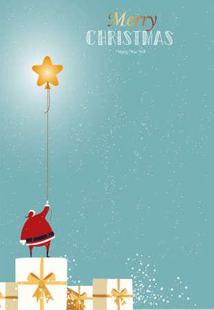 Santa claus catch the star on the sky Ilustração