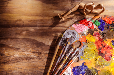 color mixing: color mixing palette with brushes and mannequin