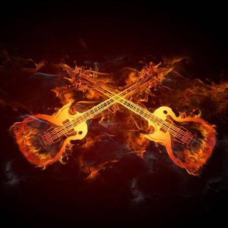 rock music: Guitars fire