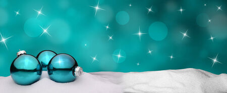 snowy background: Christmas background - Christmas Ornament turquoise - Snow Stock Photo
