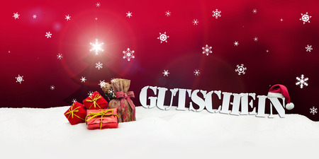 Christmas voucher Gutschein card gifts snow 免版税图像 - 33788193