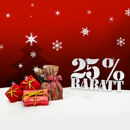 Weihnachtsgeschenke 25 Prozent Rabatt Discount rot Standard-Bild - 33909081