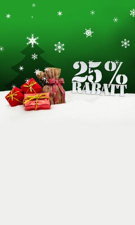 Weihnachtsgeschenke 25 Prozent Rabatt Discount grün Standard-Bild - 33909089
