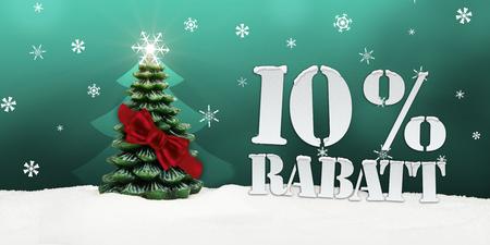 Weihnachtsbaum 10% Rabatt Rabatt Schnee türkis Standard-Bild - 33910733
