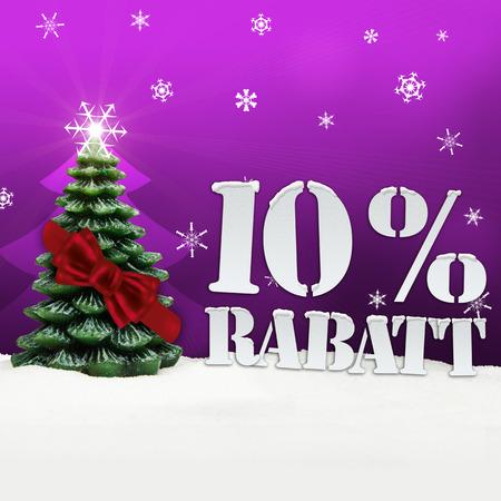 Weihnachtsbaum 10% Rabatt Rabatt Schnee rosa Standard-Bild - 33910740