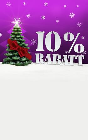 Weihnachtsbaum 10% Rabatt Rabatt Schnee rosa Standard-Bild - 33910747
