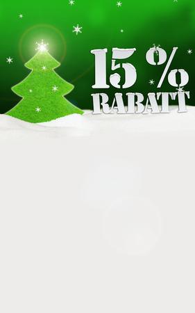Weihnachtsbaum 15% Rabatt Discount Schnee grün Standard-Bild - 33910823