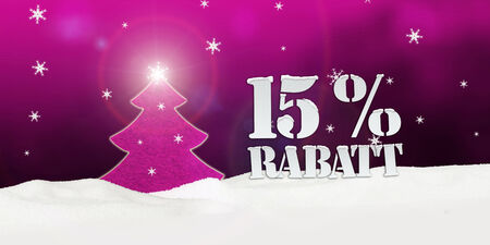 Weihnachtsbaum 15% Rabatt Discount Schnee rosa Standard-Bild - 33910827