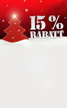 Weihnachtsbaum 15% Rabatt Discount Schnee rot Standard-Bild - 33910830