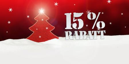Weihnachtsbaum 15% Rabatt Discount Schnee rot Standard-Bild - 33910832