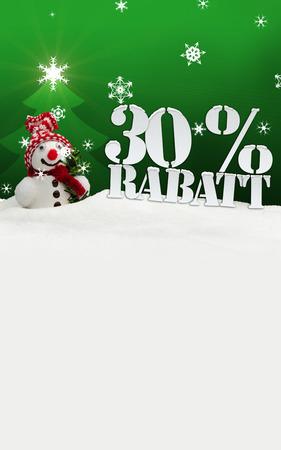 Weihnachts-Schneemann 30 Prozent Rabatt Rabatt grün Standard-Bild - 33911248