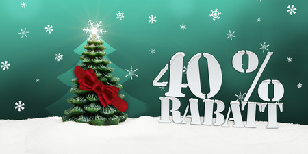 Weihnachtsbaum 40 Prozent Rabatt Rabatt Winter Schnee Standard-Bild - 34084983