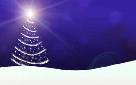 christmas tree lights stars lightning sparkling blue Stock Photo