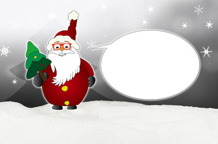 optician: Funny Santa Claus Comic with glasses balloon optician winter snow grey Stock Photo