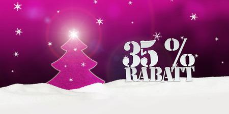 Weihnachtsbaum 35 Prozent Rabatt Discount rosa Schnee Winter Standard-Bild - 34085306
