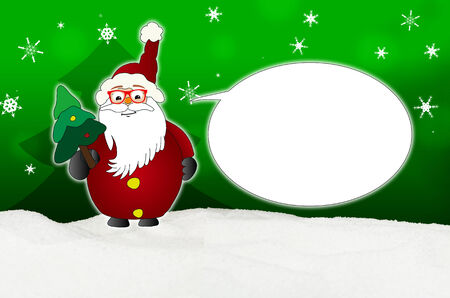 optician: Funny Santa Claus Comic with glasses balloon optician winter snow green Stock Photo