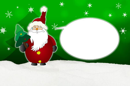 snort: Funny and laughing Santa Claus Comic balloon winter snow green Stock Photo