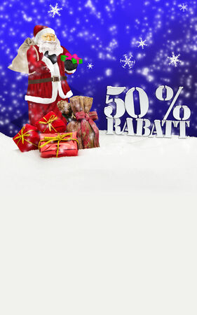 santa claus - merry christmas 50 percent discount winter snow blue photo