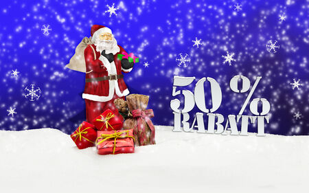 weihnachtsmann: santa claus - merry christmas 50 percent discount winter snow blue Stock Photo