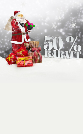 santa claus - merry christmas 50 percent discount winter snow grey photo