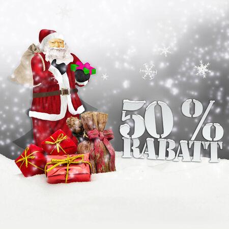 Weihnachtsmann - Frohe Weihnachten 50 Prozent Rabatt Winter Schnee grau Standard-Bild - 34101830