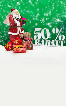 weihnachtsmann: santa claus - merry christmas 50 percent discount winter snow green