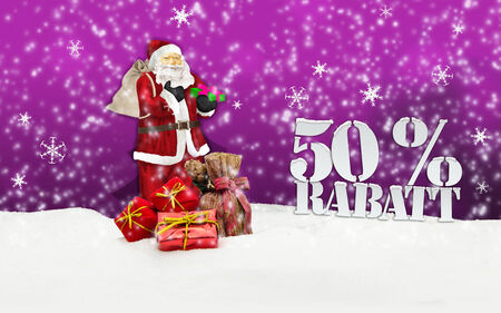 santa claus - merry christmas 50 percent discount winter snow pink photo
