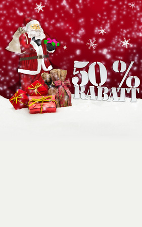santa claus - merry christmas 50 percent discount winter snow red photo