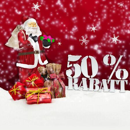 Santa Claus - Frohe Weihnachten 50 Prozent Rabatt Winter Schnee rot Standard-Bild - 34101857
