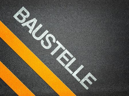 roadworks: Baustelle German Roadworks Text Writing