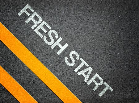 frisse start: Fresh Start Tekst Schrijven Road Asphalt Word etage begane grond