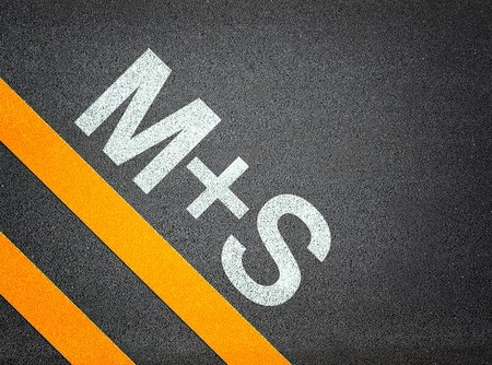 ms: M+S Tires M&S  Text Writing Road Asphalt Word Floor Ground Stock Photo