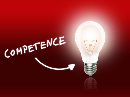 Competence Bulb Lamp Energy Light red Background Idea Фото со стока