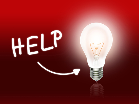 Help Bulb Lamp Energy Light red Background Idea Фото со стока - 34362069