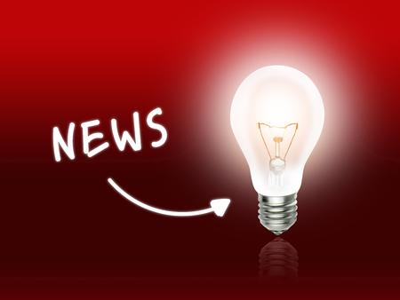 News Bulb Lamp Energy Light red Background Idea Фото со стока
