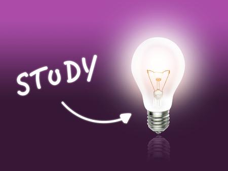 hint: Study Bulb Lamp Energy Light pink Background Idea Stock Photo