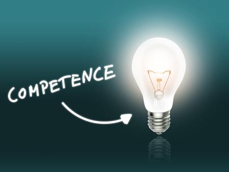 Competence Bulb Lamp Energy Light turquoise Background Idea Stock Photo