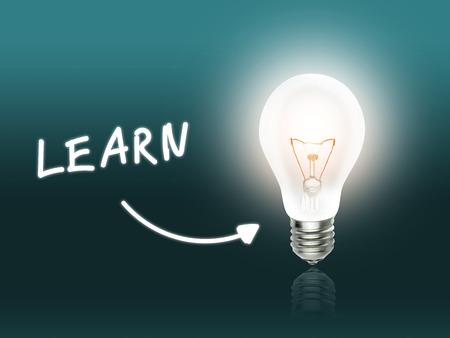 hint: Learn Bulb Lamp Energy Light turquoise Background Idea Stock Photo