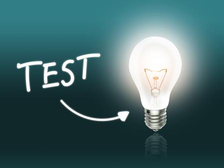 hint: Test Bulb Lamp Energy Light turquoise Background Idea Stock Photo
